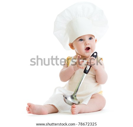 Little boy with metal ladle and cook hat isolated - stock photo