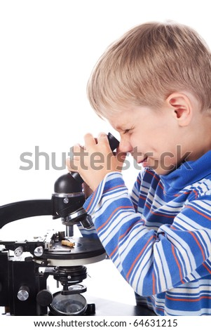 little boy with microscope isolated on white - stock photo