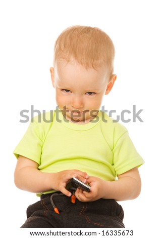little boy with mobile phone on a white background
