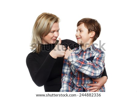 Little boy with mother thumb up, isolated on white - stock photo