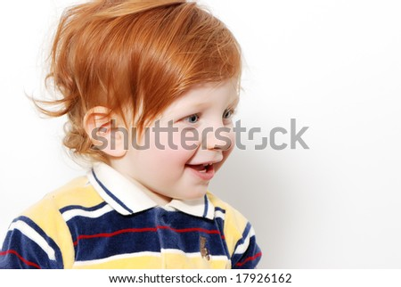 little boy with red hair.Emotions
