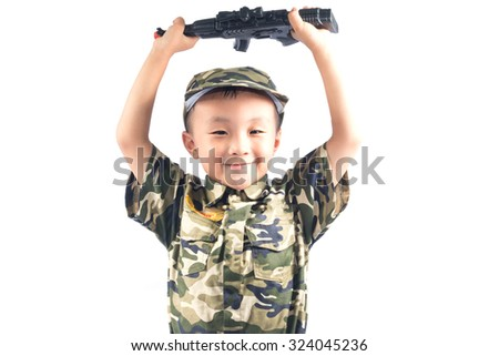 little boy with Soldier suit isolated on white background