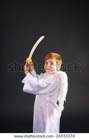 little boy with sword dressed like battle angel