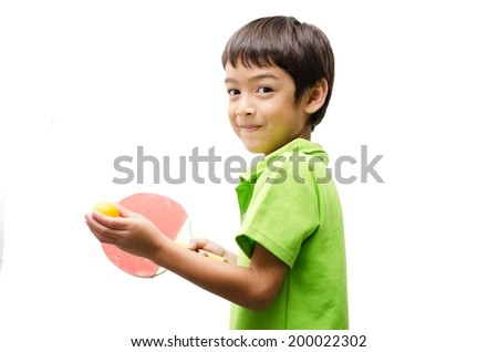 Little boys playing table tennis on white background - stock photo