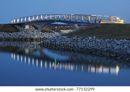 Little bridge by the Lakefront in Milwaukee, Wisconsin. - stock photo