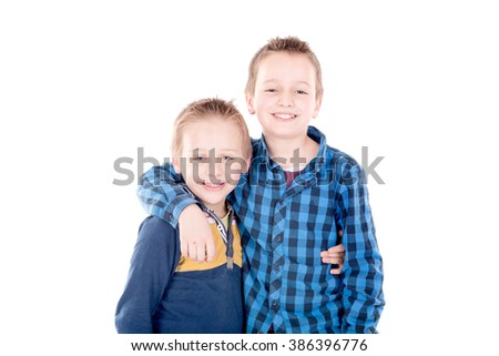 little brothers isolated in white