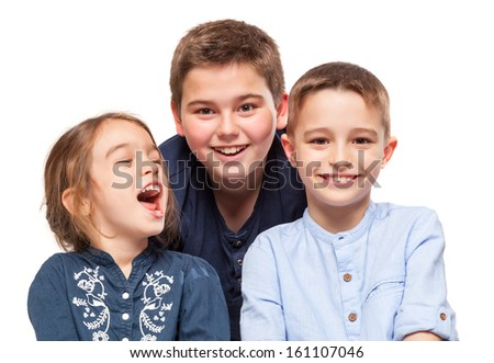 Little Brothers Smiling Isolated on White - stock photo