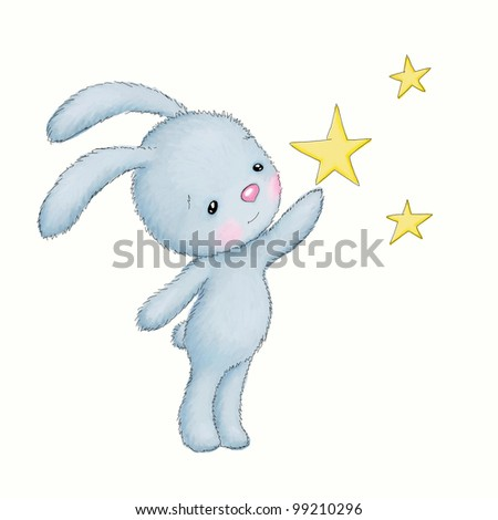 little bunny reaching for the stars on white background - stock photo