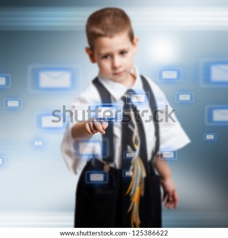 Little business boy pressing messaging type of modern icons - stock photo