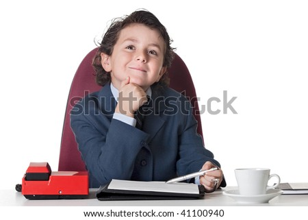 Little businessman in the office isolated over white - stock photo
