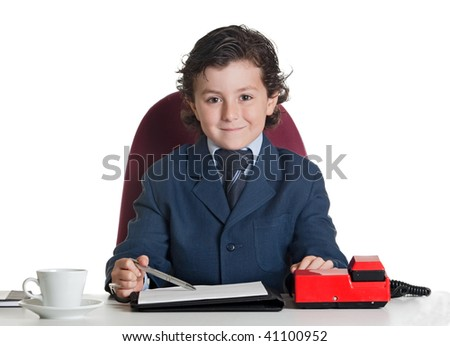 Little businessman in the office isolated over white
