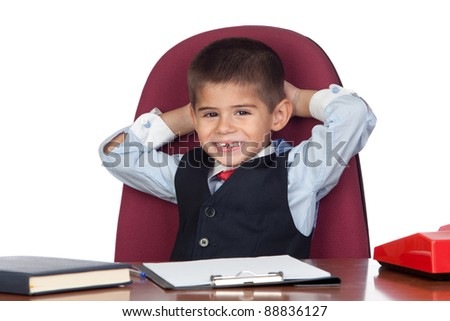 Little businessman relaxed in the office isolated on a over white background - stock photo