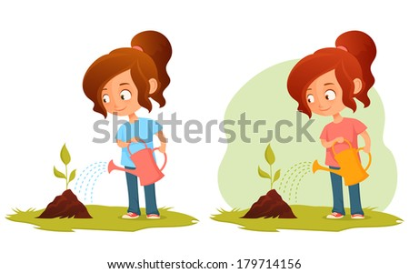 little cartoon girl watering a plant - green concept illustration for kids - stock photo