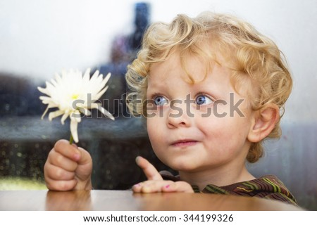 Little caucasian boy with blue eyes and curly hair with  white flower in his hand - stock photo