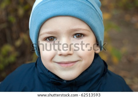Little cheerful child boy happiness fun smiling - stock photo