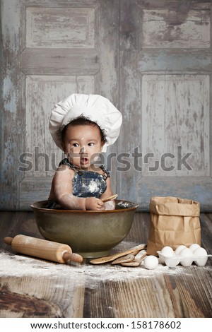 Little Chef.  Room for your text! - stock photo