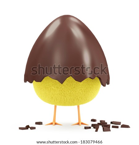 Little Chicken in Broken Chocolate Easter Egg isolated on white background
