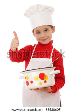 Little chief-cooker with thumbs up and pot, isolated on white - stock photo