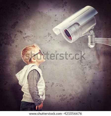 little child and cctv 3d - stock photo