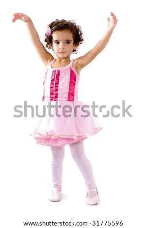 Little child as Ballerina dancing .