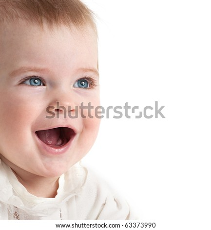 little child baby smiling closeup portrait on white background - stock photo