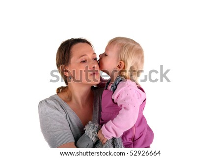 little child is kissing her mother