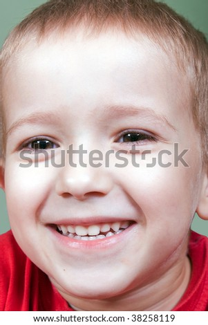 Little child smiling for happiness and fun