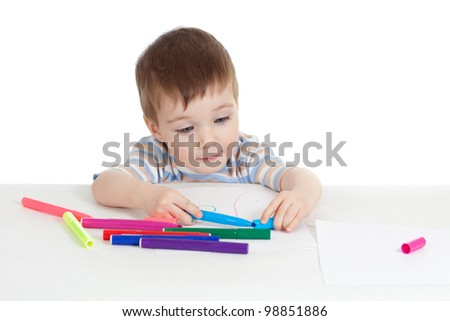 little child with color pen over white