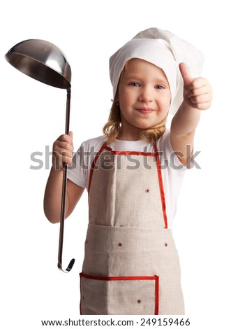 Little child with ladle isolated on white - stock photo