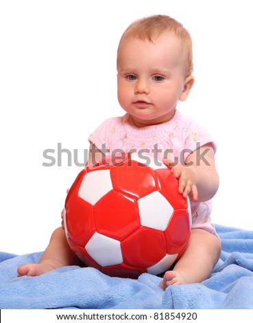 Little child with soccer ball.
