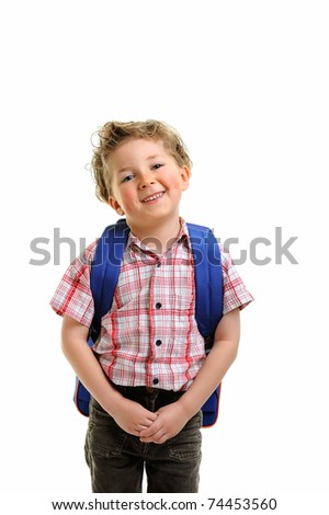 little children schoolboy on white background