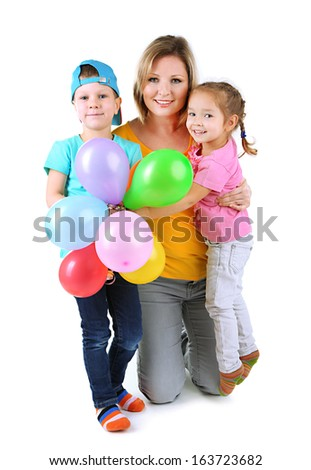Little children with nice mom isolated on white