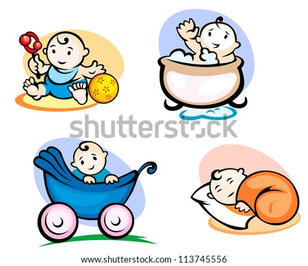 Little childs in cartoon style sleeping, washing and playing with toys. Vector version also available in gallery - stock photo