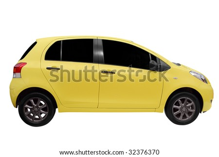 little city yellow car isolated - stock photo