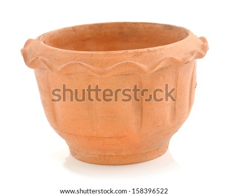 Little clay flower pots on white background  - stock photo