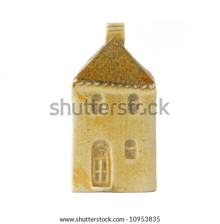 Little clay model house, isolated on white. - stock photo