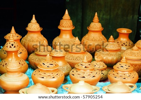 Little clay water pots - stock photo