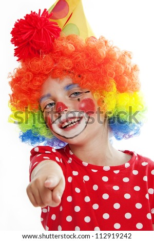 little clown pointing on you - stock photo