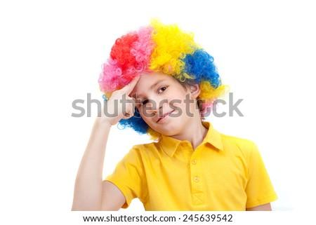 little clown thinking - stock photo