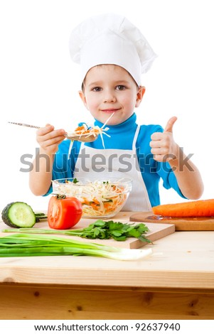 Little cooker with salad and thumb up sign, isolated on white - stock photo