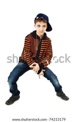 Little cool hip-hop boy in dance. Studio shoot - stock photo