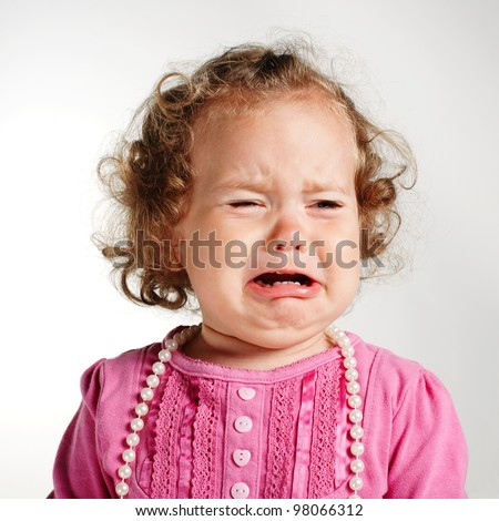 little crying girl portrait - stock photo