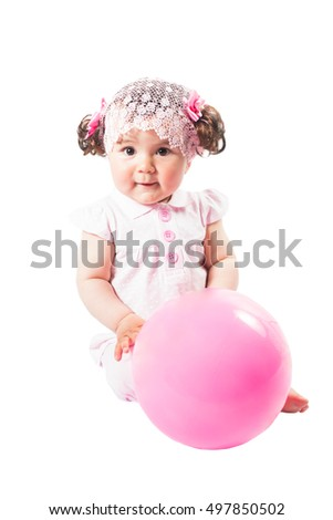 Little cute baby-girl  in pink dress isolated on white background  Use it for a child, parenting or love concept