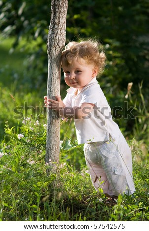 Little cute baby holding a tree, trying to make his first steps by himself - stock photo