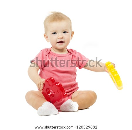 Little cute baby in pink dress isolated