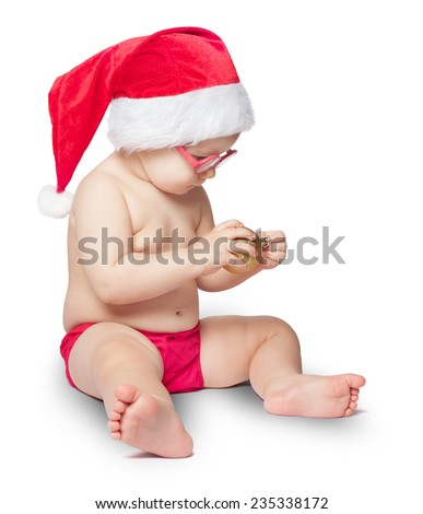 little cute baby in red Santa hat is isolated on white background - stock photo