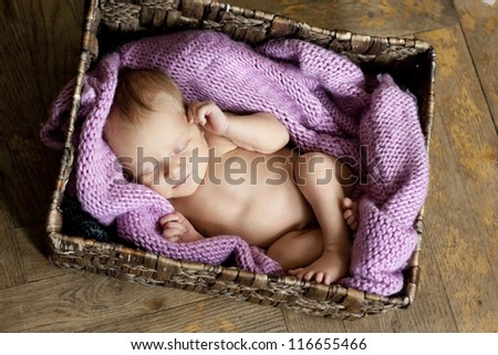 little cute baby in the box - stock photo
