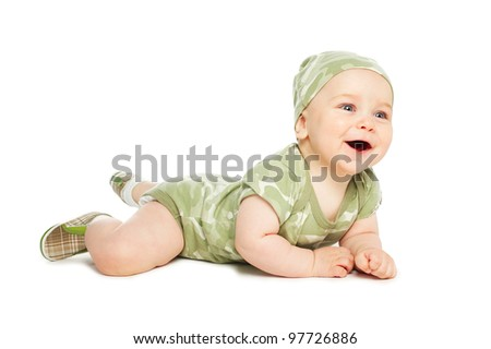 little cute boy clothed khaki - stock photo