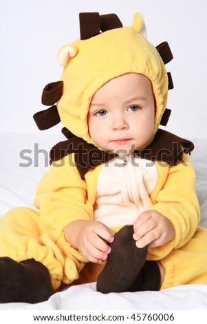 Little cute boy in wild animal costume. - stock photo