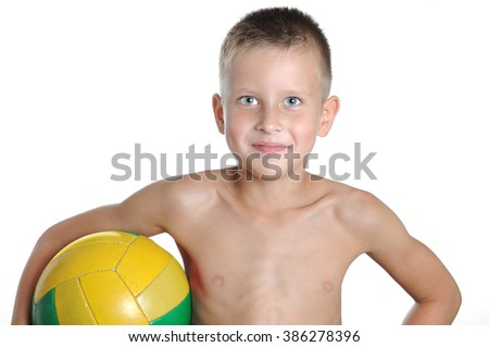 little cute boy playing football ball isolated on white background - stock photo